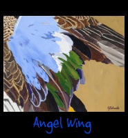 Angel Wing - 24x30 Acrylic on Stretched Canvas with Gallery Wrap Yellow Ochre Border - Painting by Greg Schwab