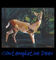 Contemplative Deer - 28x36 Acrylic on Stretched Canvas in Ornate Gold Frame (frame not shown) - Painting by Greg Schwab
