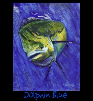 Dolphin Blue - 24x36 Acrylic on Stretched Canvas with Image Wrap Border - Painting by Greg Schwab