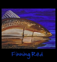 Finning Red - 36x48 Acrylic on Stretched Canvas with Blue Gallery Wrap Border - Painting by Greg Schwab