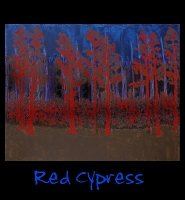 Red Cypress - 22x28 Acrylic on Stretched Canvas with Image Wrap Border - Painting by Greg Schwab