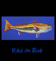 Red on Blue - 16x36 Acrylic on Stretched Canvas with Blue Gallery Wrap Border - Painting by Greg Schwab