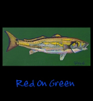 Red on Green - 16x36 Acrylic on Stretched Canvas with Green Gallery Wrap Border - Painting by Greg Schwab