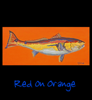Red on Orange - 16x36 Acrylic on Stretched Canvas with Orange Gallery Wrap Border - Painting by Greg Schwab