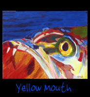 Yellow Mouth - 24x30 Acrylic on Stretched Canvas with Image Wrap Border - Painting by Greg Schwab