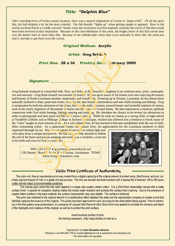 Giclée Print Certificate of Authenticity