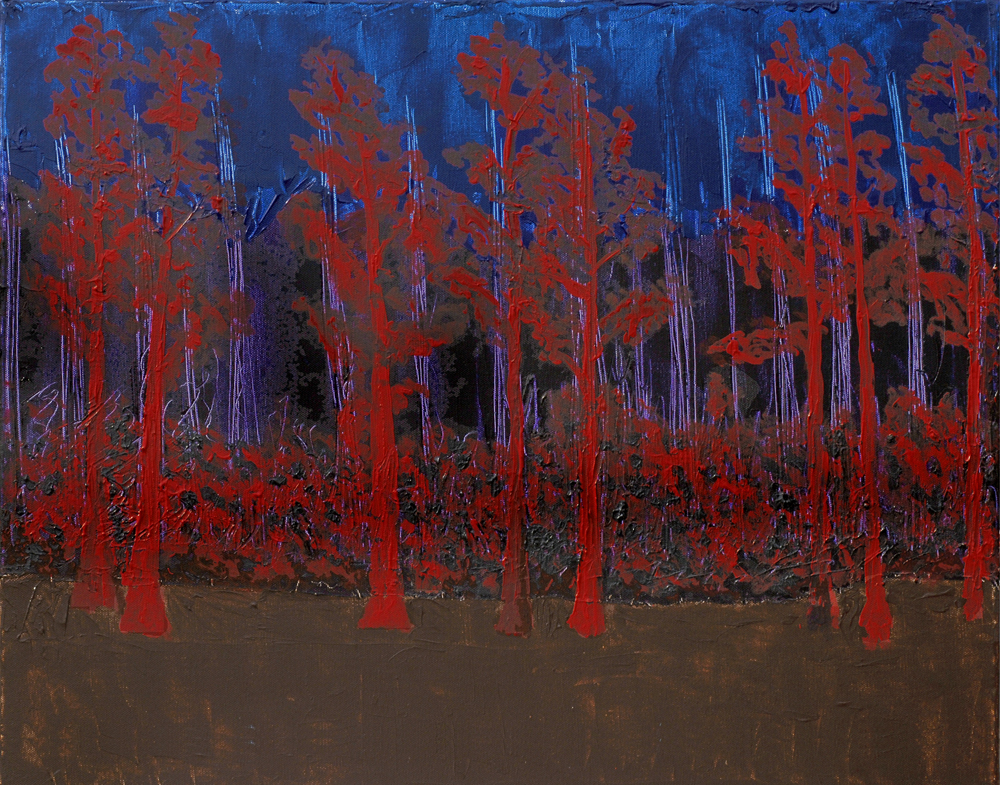 Red Cypress - 22x28 Acrylic on Stretched Canvas with Image Wrap Border